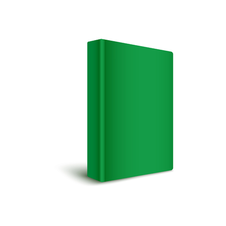 Book blank hard cover standing vertically in green color 3d realistic vector mockup illustration on white background. Empty book template to represent cover design.