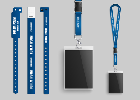 Clear plastic badges id cards holders collection with blue neck lanyards and bracelets for identification and access to events realistic vector illustration template.