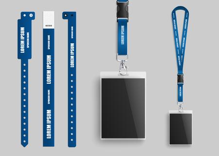 Collezione di porta carte d'identità con badge in plastica trasparente con cordini e braccialetti blu per l'identificazione e l'accesso agli eventi modello realistico di illustrazione vettoriale