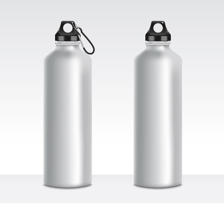 Set of two grey water bottle mockups, realistic metal aluminum beverage containers with or without fastening clip, stainless steel camping equipment, isolated vector illustration