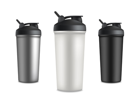 Set of three sport cup bottles for water or protein shake drink. Healthy nutrition container mockup for product ad and branding, isolated realistic vector illustration on white background Ilustração