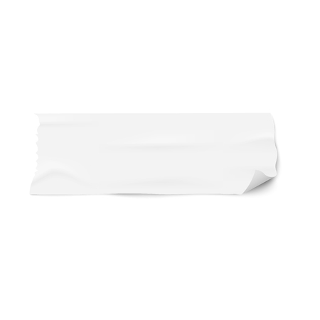 Piece of white masking duct tape with rounded curled corner isolated on white background. Used masking adhesive with paper texture as text template - realistic vector illustration Ilustração