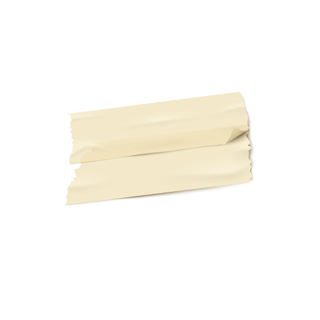 Two pieces of beige adhesive tape pasted on top of each other realistic style, vector illustration isolated on white background. Strip of brown ripped sticky tape or band stuck over another Illustration