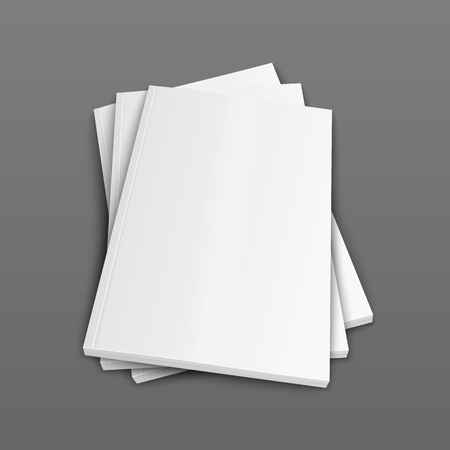 A stack of closed magazines or brochure covers 3d realistic vector mockup illustration on grey background. Top view of folded paper booklets or catalogs template. Illustration