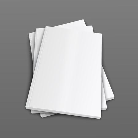 Ein Stapel geschlossener Zeitschriften oder Broschüren umfasst realistische 3D-Vektor-Mockup-Illustration auf grauem Hintergrund. Draufsicht auf gefaltete Papierbroschüren oder Katalogvorlagen. Vektorgrafik