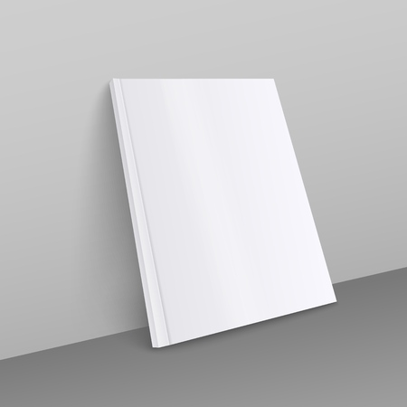 Blank white magazine realistic mockup, A4 format thick brochure or thin book with empty front page leaning against a grey wall, realistic 3D style vector illustration 스톡 콘텐츠 - 128170730