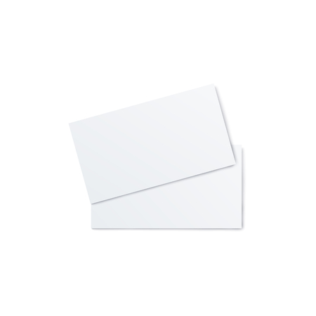Blank flyer, invitation or folded brochure design 3d realistic vector mockup illustration on white background. Two empty paper sheets to presentate back and front side.