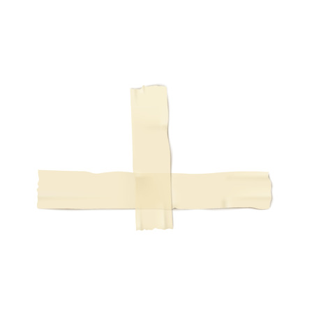 Two pieces of plaster or adhesive tape, pasted crosswise 3d realistic vector illustration on the white background. Blank sticky the stationary or medicine element.