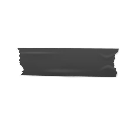 One piece of black adhesive or masking tape with torn edges realistic style, vector illustration isolated on white background. Strip of dark ripped sticky tape or band pasted horizontally