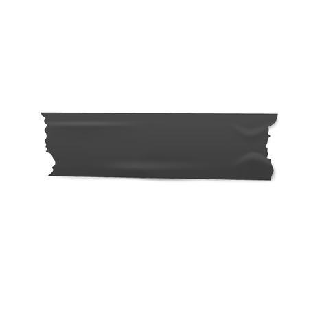 Un morceau de ruban adhésif ou de masquage noir avec un style réaliste de bords déchirés, illustration vectorielle isolée sur fond blanc. Bande de ruban adhésif déchiré foncé ou bande collée horizontalement