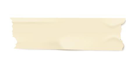 Stück hellgelbes Klebeband mit realistischer Papierstruktur, isolierter Linienstreifen mit zerrissenen Kanten und Falten, verwendete Büropapiervektorillustration auf weißem Hintergrund