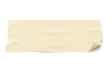Piece of used old masking tape piece with curled corner. Isolated light yellow adhesive strip label with torn edges on white background - realistic vector illustration.