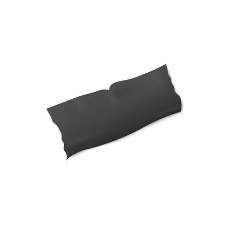 Black adhesive or insulation tape torn piece or strip glued on a surface 3d realistic vector illustration isolated on white background. Sticky repair or masking label.