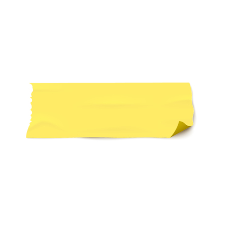 Adhesive wide yellow tape torn piece pasted on a white surface 3d realistic vector illustration isolated on white background. Sticky repair or medicine bandage.