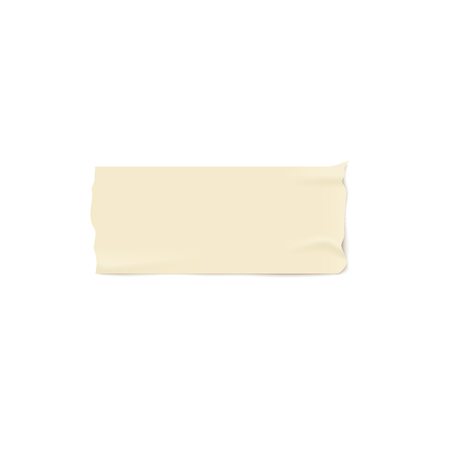 One piece of beige adhesive or masking tape with torn edges realistic style, vector illustration isolated on white background. Strip of brown ripped sticky tape or band pasted horizontally Ilustrace