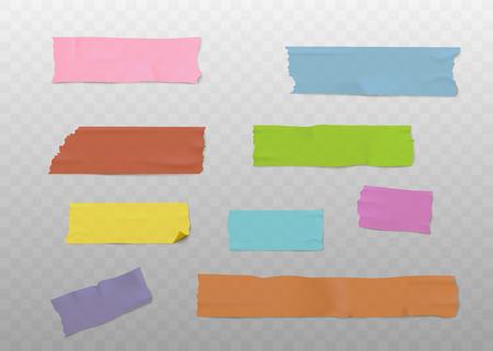 Zestaw kolorowych pasków taśmy samoprzylepnej z realistyczną teksturą, lepkie kawałki papieru washi na przezroczystym tle - ilustracja wektorowa papeterii biurowej