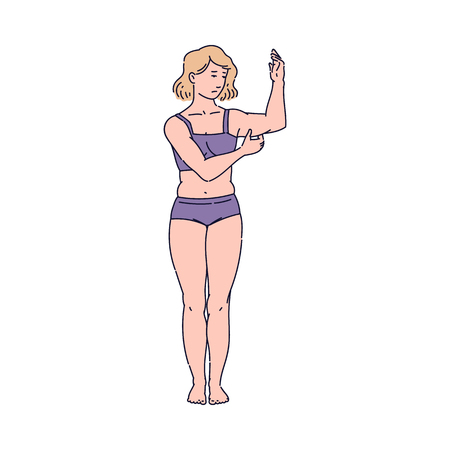 Woman insecure about her body, skinny female cartoon character in underwear pinching excess fat on her arm with sad face, diet and weight loss problem, isolated flat vector illustration Illustration
