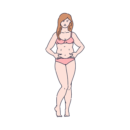 Woman pinching fat on her belly, female cartoon character in underwear with body image issues wanting weight loss and slim waist, isolated flat hand drawn vector illustration Çizim
