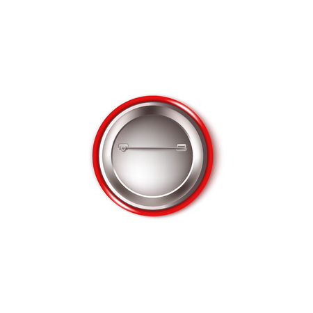 Round red button pin - back view. Realistic mockup of the backside of a plastic circle brooch with metal needle and fastening wire hook, isolated vector illustration on white background