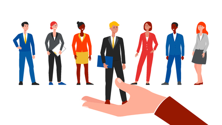 Employee choice for hire, cartoon people in business suits on job interview. Chosen candidate picked by hand over minorities, isolated flat hand drawn vector illustration on white background Vector Illustration