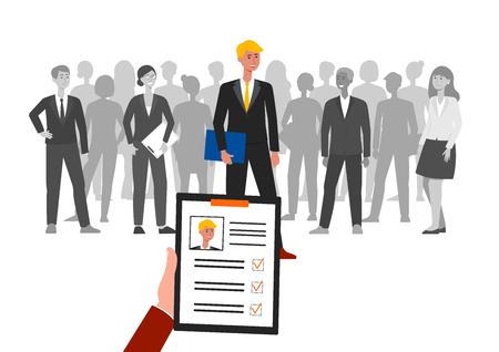 Reclutamiento o contratación de personal de equipo de negocios ilustración vectorial plana aislada, que representa a un grupo de personas y uno de ellos elegido. Elección del empleado y concepto de inicio de carrera.