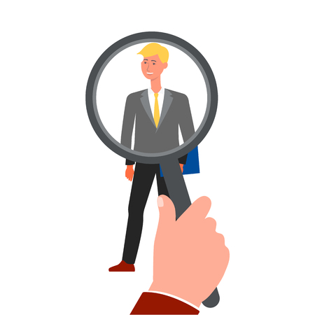 Recruitment hand zoom magnifying glass picking an employee or choosing candidate the hiring concept flat vector illustration isolated on white background. Open vacancy icon.