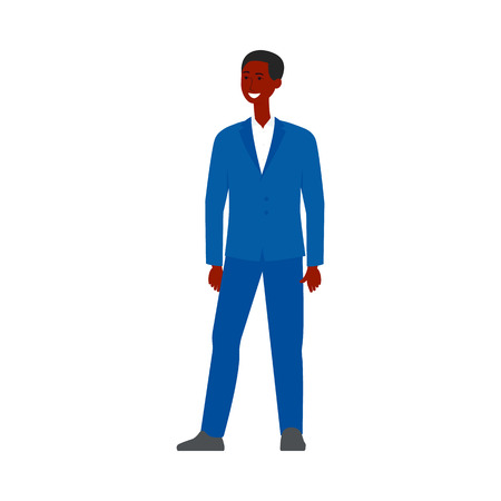 Choice or searching of employee the business recruitment concept flat vector illustration isolated on white background. Candidate for open vacancy black skin man in suit. Ilustração