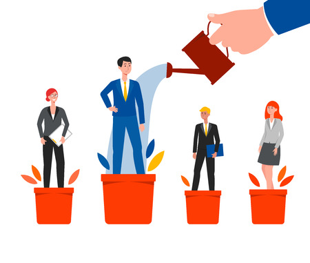 Career success and growth - cartoon business people standing on plant pots and chosen employee watered by hand with watering can. Investing in talent development - isolated flat vector illustration