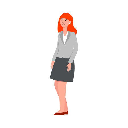 Smiling insecure standing woman in blazer and skirt flat cartoon style, vector illustration isolated on white background. Full-length business female in suit waiting for job interview in shy pose