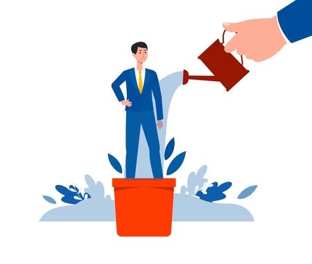 Homme d'affaires professionnel en pot de fleur le concept de carrière de développement et de gestion, illustration vectorielle plane isolée sur fond blanc. Croissance et formation des employés. Vecteurs