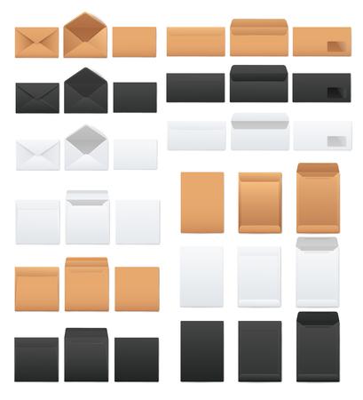 Ensemble de maquettes d'enveloppes vierges blanches et noires et kraft marron style réaliste, illustration vectorielle isolée sur fond blanc. Modèles d'enveloppes ouvertes et fermées recto et verso Vecteurs