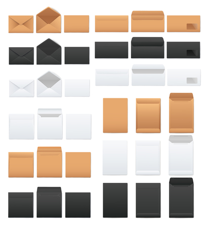 Mockups Set aus weißen und schwarzen und kraftbraunen leeren Umschlägen im realistischen Stil, Vektorillustration einzeln auf weißem Hintergrund. Vorlagen für offene und geschlossene Umschläge auf Vorder- und Rückseite Vektorgrafik