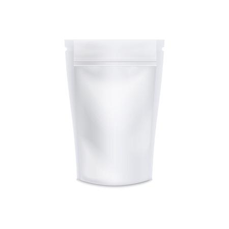 Realistico modello di borsa a sacchetto bianco - modello di pacchetto di caffè o tè vuoto per il design del marchio, contenitore di plastica per cibo o snack isolato su sfondo bianco, illustrazione vettoriale con texture 3D