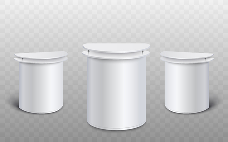 Set of three white promo stands for advertising exhibition, blank mockup of small retail booth table with double counter tops in front and side view - isolated realistic vector illustration
