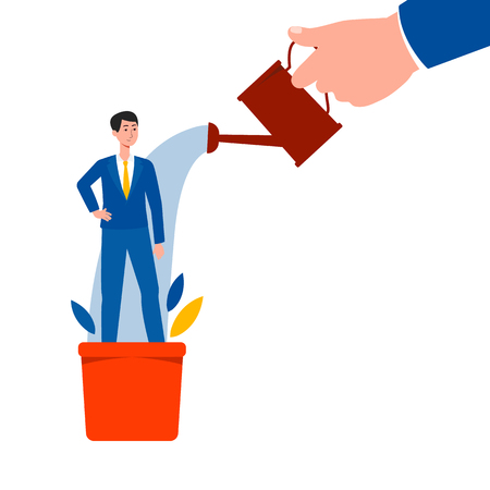 Hand holding can and watering man standing in flowerpot flat cartoon style, vector illustration on white background. Employee growing and development, human resource management business concept