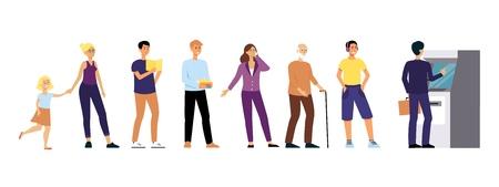 Różni ludzie stoją w kolejce do stylu cartoon płaska bankomat, wektor ilustracja na białym tle. Młodzi i starzy mężczyźni i kobiety czekające w kolejce po wypłatę gotówki z bankomatu