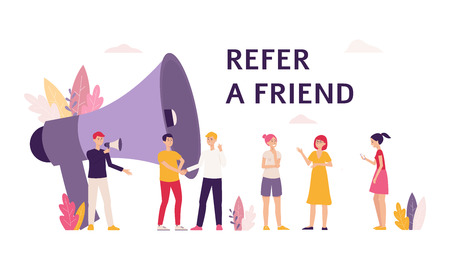 People cartoon characters with loudspeaker the banner for illustration referral marketing program flat vector. Men and women give friends recommendation template.