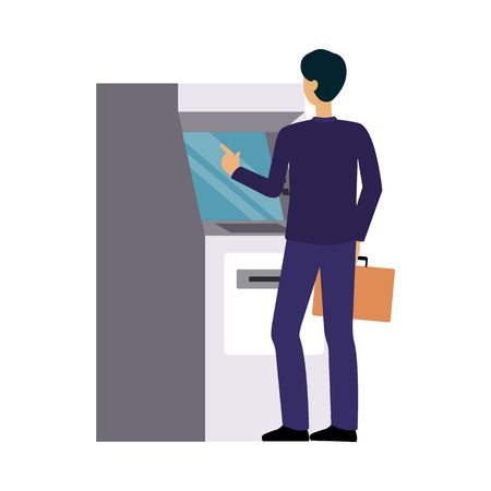 Man using bank ATM machine, businessman making cash money withdrawal or credit card transaction, business and finance technology user, isolated flat vector illustration on white background Vectores
