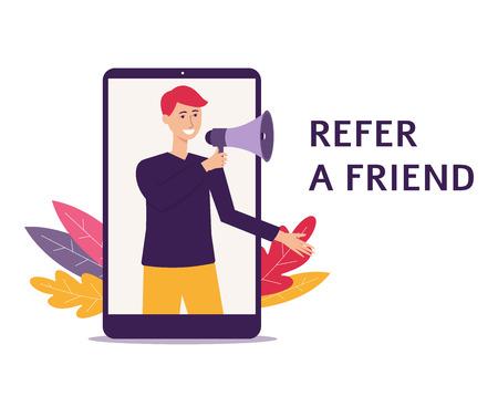 L'homme avec un haut-parleur se réfère à une illustration de vecteur plat de recommandation d'ami isolé sur fond blanc. Bannière pour la page Web de l'entreprise ou les affiches des médias sociaux.