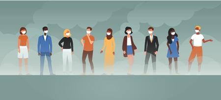 Gente de dibujos animados en máscaras de pie en el fondo del humo de la fábrica, discusión del problema de la contaminación del aire y la ecología, banner de ilustración vectorial plana