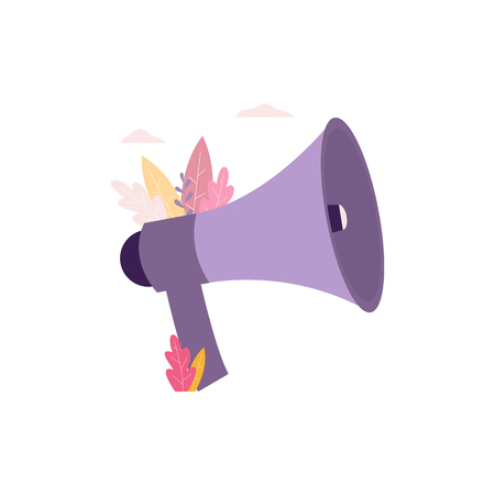 Refer a friend megaphone icon for advertising and promotion banners and flyers flat vector illustration isolated on white background. Information and recomendation concept.