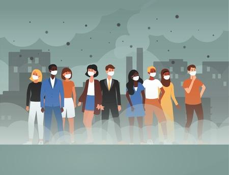 Środowisko toksyczne zanieczyszczenia gazowe i przemysł smog niebezpieczeństwo koncepcja ilustracja kreskówka płaski wektor. Osoby w ochronnych maskach na twarz przed skażonym brudnym powietrzem miejskim.
