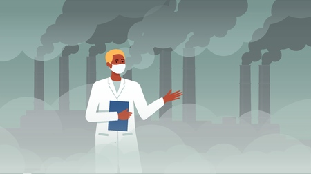 Scientist man in front of chemical plat with pipe smoke discussing ecology and air pollution, cartoon character in lab coat on dystopian factory fog background, flat vector illustration Illustration