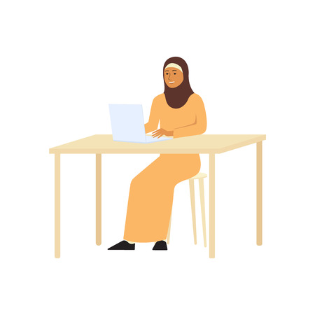 Muslim or arabic business woman in the hijab working at the laptop or computer flat vector character illustration isolated on white background. Equality of women. Illustration