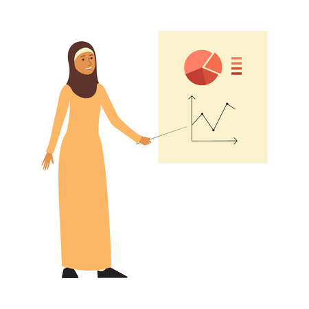 Muslim business woman giving presentation, female Arab cartoon character with islamic hijab dress pointing at graph and smiling, isolated flat vector illustration on white background Illustration