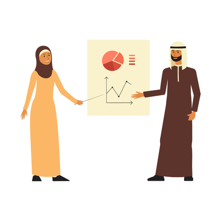 Arab business man and woman stand presenting diagrams flat cartoon style, vector illustration isolated on white background. Traditional Muslim colleagues couple showing chart board at presentation Ilustração