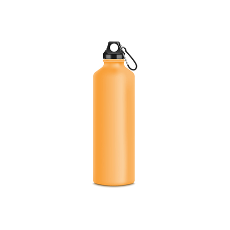 Sport water and drinks yellow bottle 3d realistic vector mockup illustration isolated on white background. Drinking reusable container template for branding and design. Illusztráció