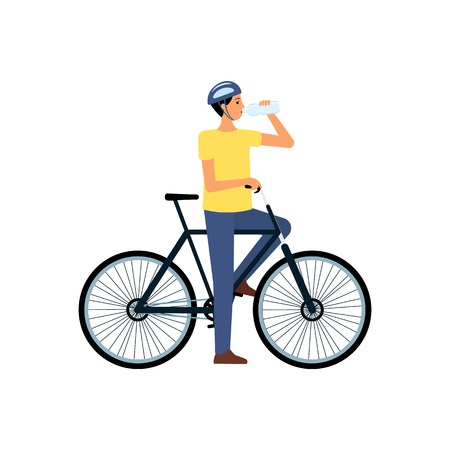 Man on bicycle standing and drinking water from bottle flat cartoon style, vector illustration isolated on white background. Thirsty male biker in helmet has stopped cycling to drink water Standard-Bild - 124791358