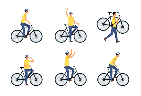 Set of man riding or sitting on bicycle or standing near it flat cartoon style, vector illustration isolated on white background. Male biker in helmet drinking water from bottle or carrying bicycle Illustration