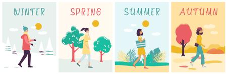 Seizoenen banners set met wandelende vrouw in verschillende kleding platte cartoon stijl, vectorillustratie op natuur achtergrond. Meisje gaat naar buiten bij winter en lente en zomer en herfstweer